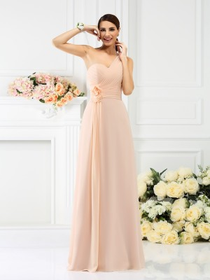 A-Line/Princess One-Shoulder Pleats Floor-Length Chiffon Bridesmaid Dress