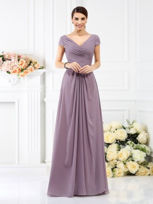 A-Line/Princess V-neck Short Sleeves Floor-Length Chiffon Bridesmaid Dress