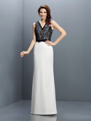 Sheath/Column V-neck Sleeveless Lace Floor-Length Chiffon Bridesmaid Dress