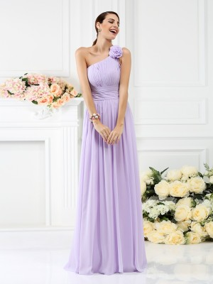A-Line/Princess One-Shoulder Sleeveless Pleats Hand-Made Flower Floor-Length Chiffon Bridesmaid Dress