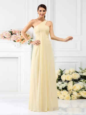 One-Shoulder Sleeveless Pleats Chiffon Bridesmaid Dress