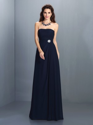 A-Line/Princess Strapless Sleeveless Rhinestone Floor-Length Chiffon Dress