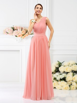 A-Line/Princess One-Shoulder Sleeveless Pleats Floor-Length Chiffon Bridesmaid Dress