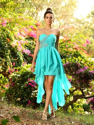 A-Line/Princess Sweetheart Sleeveless Chiffon Asymmetrical Beading Dress