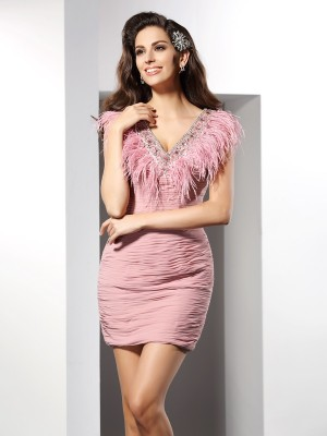 Sheath/Column V-neck Sleeveless Short/Mini Chiffon Gowns