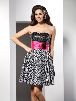 A-Line/Princess Sweetheart Sleeveless Short/Mini Chiffon Gowns