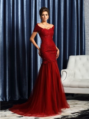 Trumpet/Mermaid Short Sleeves Off-the-Shoulder Satin Beading Sweep/Brush Train Mother of the Bride Gowns