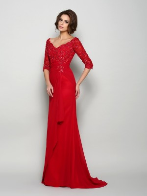 A-Line/Princess 1/2 Sleeves V-neck Chiffon Sweep/Brush Train Beading Mother of the Bride Gowns