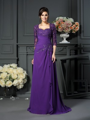 A-Line/Princess Sweetheart 1/2 Sleeves Floor-Length Applique Chiffon Mother of the Bride Gowns