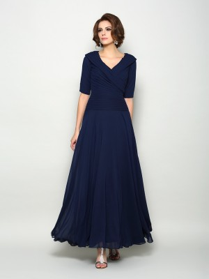 A-Line/Princess 1/2 Sleeves V-neck Ankle-Length Chiffon Mother of the Bride Gowns