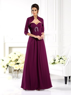 A-Line/Princess Sweetheart Beading Floor-Length Chiffon Mother of the Bride Dresses