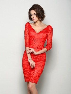 Sheath/Column 1/2 Sleeves V-neck Knee-Length Lace Mother of the Bride Dresses