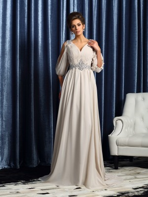 A-Line/Princess 1/2 Sleeves Chiffon V-neck Court Train Beading Mother of the Bride Dresses