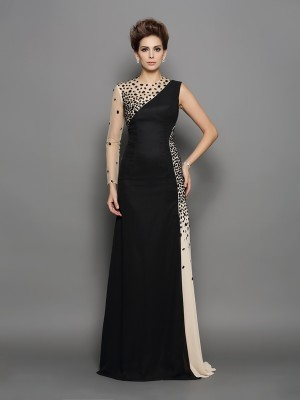 A-Line/Princess High Neck Long Sleeves Chiffon Beading Sweep/Brush Train Dresses