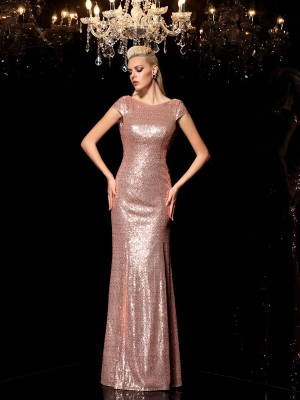 Column Scoop Sleeveless Sequin Floor-Length Sequins Dresses