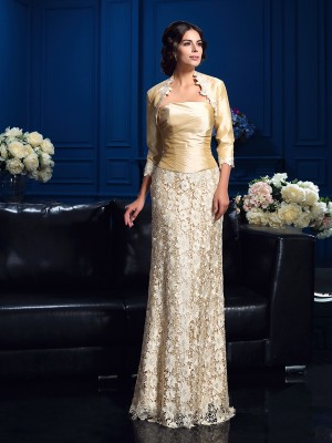 A-Line/Princess Strapless Sleeveless Floor-Length Lace Mother Dresses