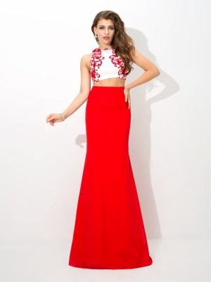 Column High Neck Sleeveless Applique Floor-Length Chiffon Two Piece Dresses