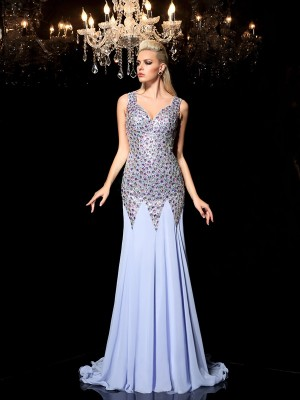 Sheath/Column Straps Rhinestone Sweep/Brush Train Chiffon Dresses