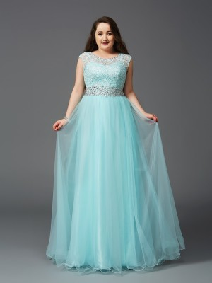 A-Line/Princess Scoop Sleeveless Rhinestone Floor-Length Net Full Size Dresses