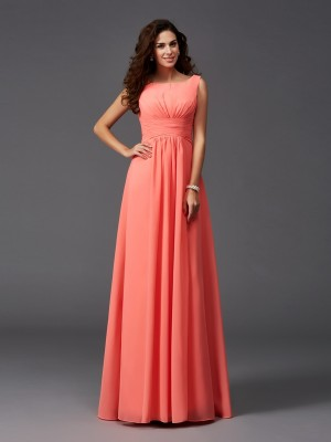 A-Line/Princess Scoop Sleeveless Sweep/Brush Train Chiffon Bridesmaid Dresses