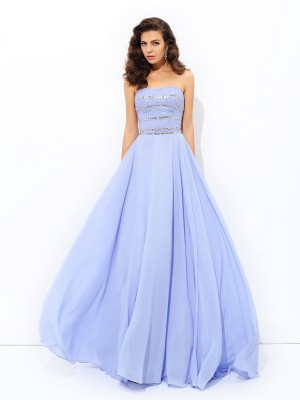 A-Line/Princess Strapless Sleeveless Beading Sweep/Brush Train Chiffon Dress