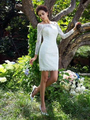 Sheath/Column Long Sleeves Satin Scoop Short/Mini Wedding Dress
