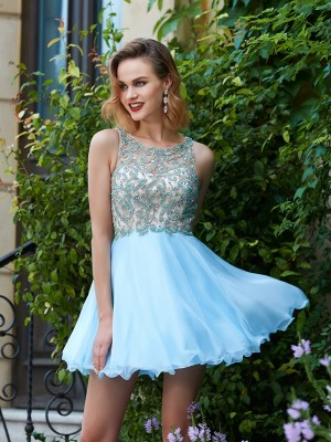A-Line/Princess Scoop Sleeveless Chiffon Beading Short/Mini Dresses