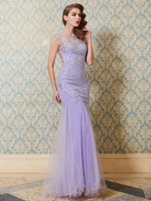 Trumpet/Mermaid Sleeveless Scoop Beading Floor-length Tulle Dresses