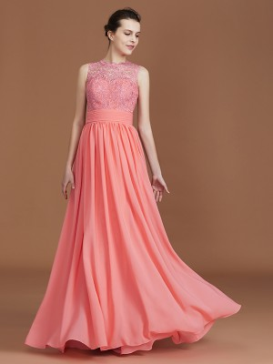 A-Line/Princess Jewel Sleeveless Floor-Length Chiffon Lace Bridesmaid Dresses