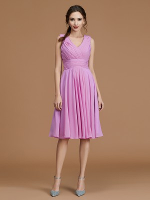 A-Line/Princess V-neck Sleeveless Chiffon Ruched Short/Mini Bridesmaid Dresses