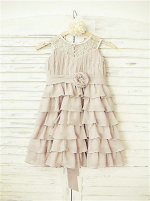 Princess Scoop Sleeveless Ruffles Tea-Length Chiffon Flower Girl Dresses