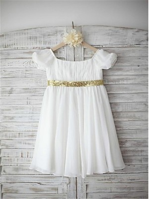 A-line/Princess Bateau Short Sleeves Beading Tea-Length Chiffon Little Girl Dresses