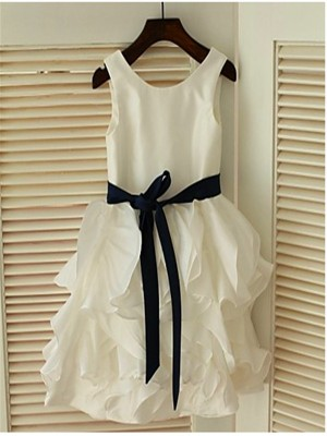 A-line/Princess Sleeveless Scoop Bowknot Tea-Length Chiffon Flower Girl Dress