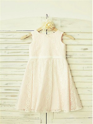 A-line/Princess Jewel Sleeveless Tea-Length Lace Flower Girl Dress