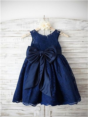Princess Scoop Sleeveless Bowknot Tea-Length Lace Little Girl Dresses