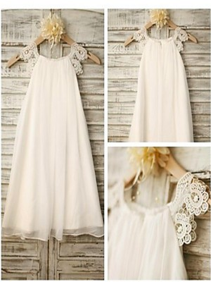 A-line/Princess Scoop Sleeveless Lace Chiffon Tea-Length Little Girl Dresses