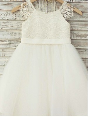 A-line Scoop Sleeveless Lace Knee-Length Tulle Little Girl Dresses