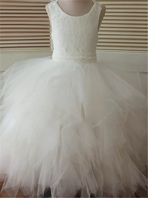 Ball Gown Scoop Sleeveless Lace Ankle-Length Organza Little Girl Dresses