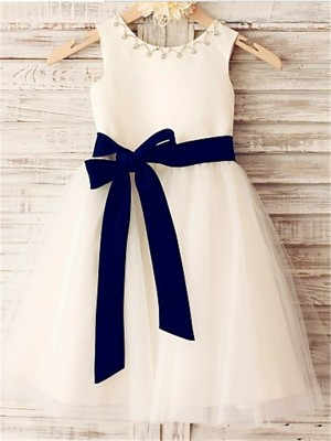 A-line Scoop Bowknot Tea-Length Tulle Girl Dresses