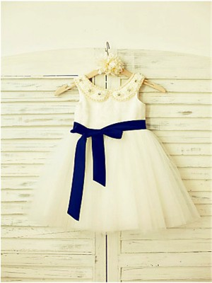 A-line Scoop Sleeveless Bowknot Tea-Length Tulle Little Girl Dresses