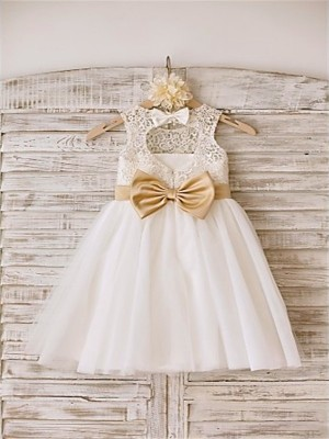 A-line/Princess Sleeveless Bowknot Scoop Knee-Length Tulle Little Girl Dresses