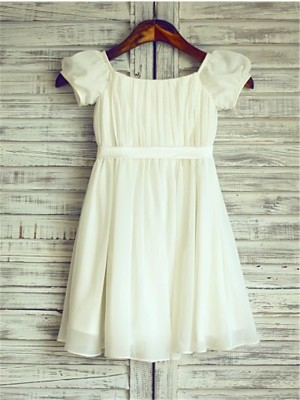 A-line/Princess Square Short Sleeves Ruched Tea-Length Chiffon Little Girl Dresses