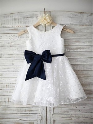 A-line/Princess Scoop Sleeveless Bowknot Tea-Length Lace Girl Dresses