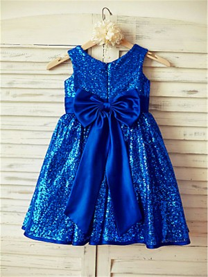 A-line/Princess Scoop Sleeveless Bowknot Tea-Length Sequins Little Girl Dresses