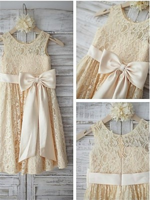 A-line/Princess Sleeveless Scoop Bowknot Knee-Length Lace Girl Dresses
