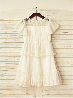 A-line/Princess Scoop Short Sleeves Lace Tea-Length Chiffon Little Girl Dresses