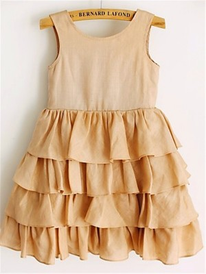 A-line/Princess Scoop Sleeveless Layers Tea-Length Chiffon Little Girl Dresses