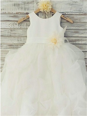 Ball Gown Sleeveless Scoop Hand-made Flower Floor-Length Organza Little Girl Dresses