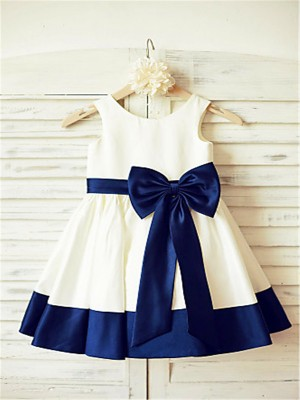 A-line/Princess Scoop Sleeveless Bowknot Knee-Length Taffeta Little Girl Dresses