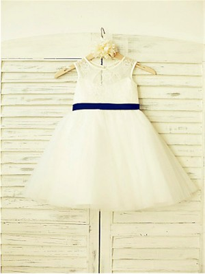 A-line/Princess Scoop Sleeveless Bowknot Tea-Length Tulle Little Girl Dresses